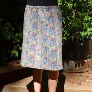 Vtg Pencil Skirt Elastic Waist Polyester Jacquard